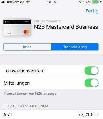 Apple-Pay Umsatz sichtbar in Wallet und Information als Push-Nachricht