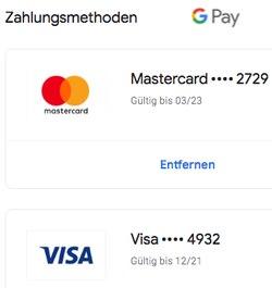 Kreditkarten hinterlegen Google Pay