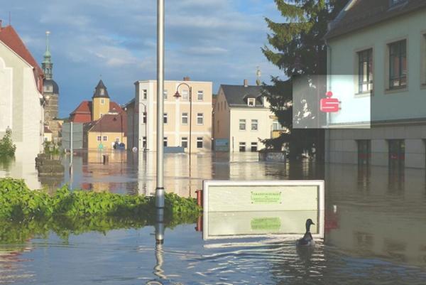 Filiale bad Schandau der Sparkasse beim Hochwasser 2013